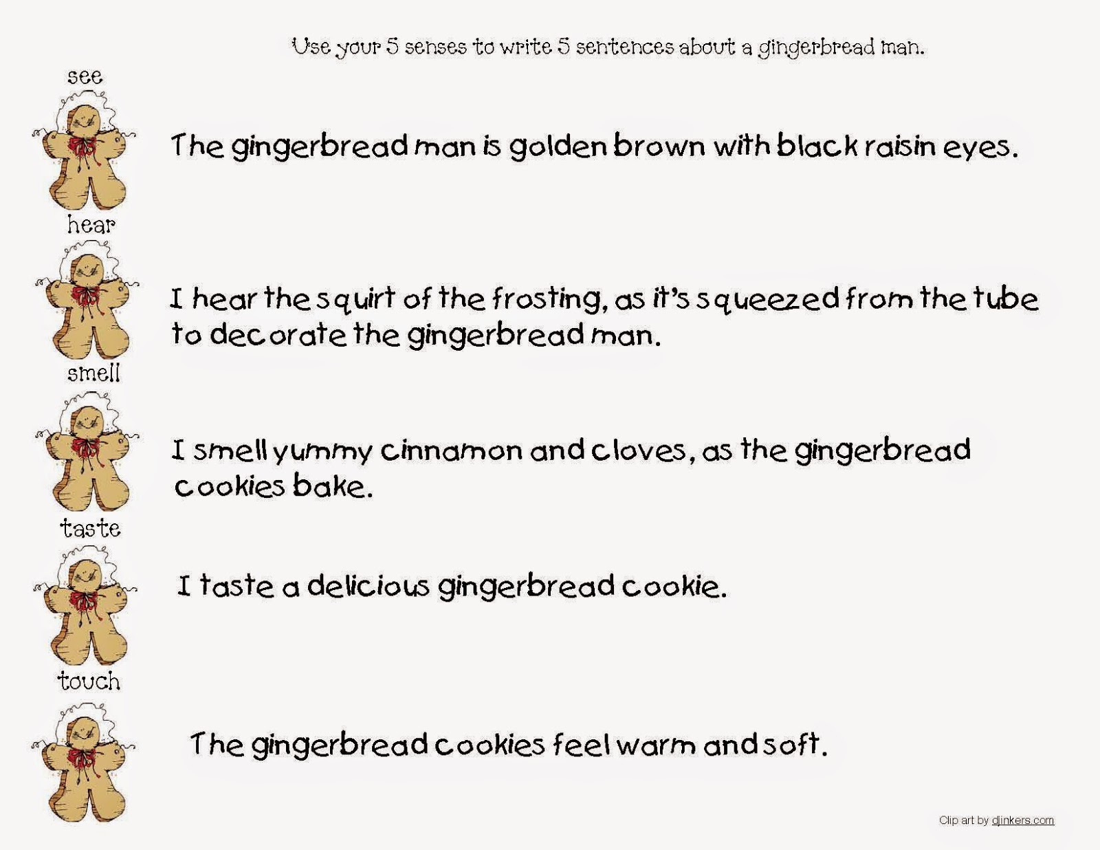 Classroom Freebies Gingerbread Descriptive Writing Worksheets