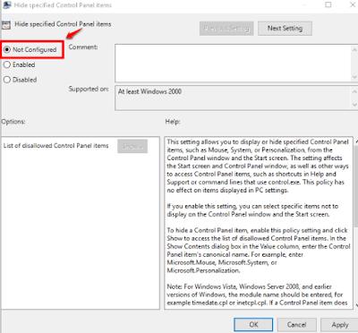 Tutorial ini menjelaskan cara menyembunyikan Item control Panel tertentu Pada Windows  Cara Menyembunyikan Item Control Panel Tertentu Di Windows 10