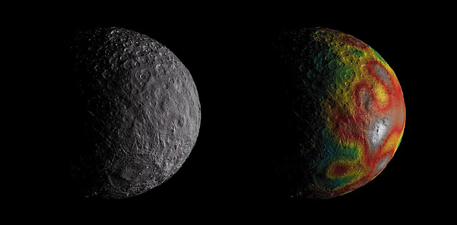 Dwarf planet Ceres as seen by NASA's Dawn. The map overlaid at right gives scientists hints about Ceres' internal structure from gravity measurements. Credits: NASA/JPL-Caltech/UCLA/MPS/DLR/IDA