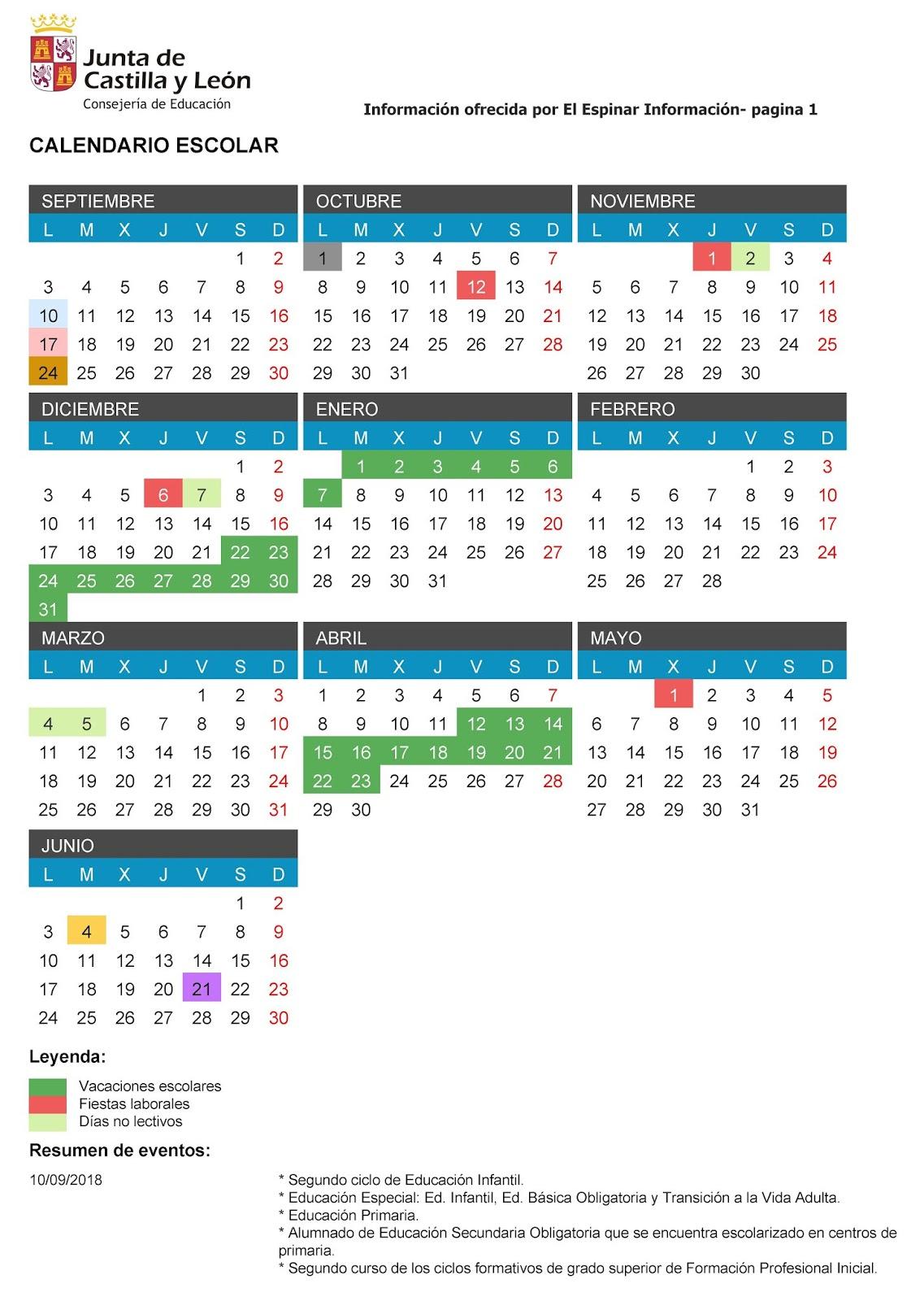 Calendario 2019 Castilla Y Leon.Calendario Escolar 2018 2019