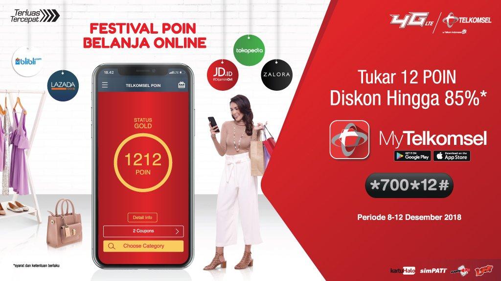 Telkomsel - Promo Tukar 12 Poin di HARBOLNAS 1212 (s.d 12 Des 2018)