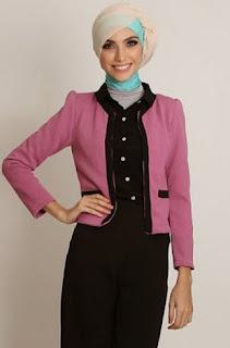 Baju gamis kerja dengan blazer