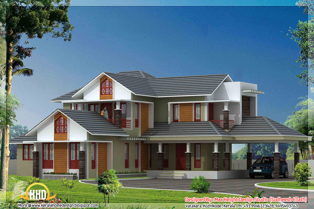 5 kerala style house 3d models kerala home design and for Kerala new model house plan