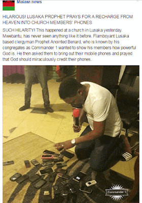 Pastor Gathers Phones of Church Members and Prays for Recharge Cards into Their Phones