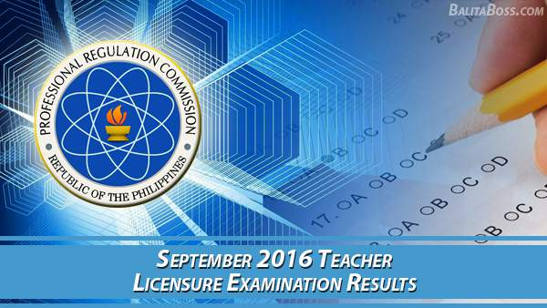 PRC Teacher September 2016 Board Exam Results