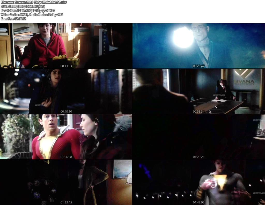 Shazam 2019 720p HDCAM x264   480p 300MB   100MB HEVC Screenshot