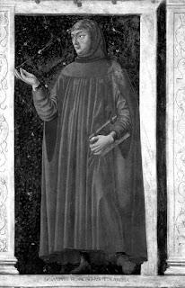 Andrea del Castagno, Francesco Petrarca, particolare del Ciclo degli uomini e donne illustri, affresco, 1450, Galleria degli Uffizi, Firenze - Mio ritocco. Fonte: Wikipedia.