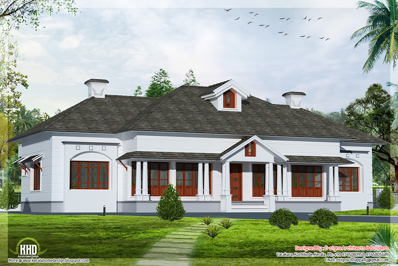 Single floor 4 bedroom victorian style villa kerala home for Single floor 4 bedroom house plans kerala