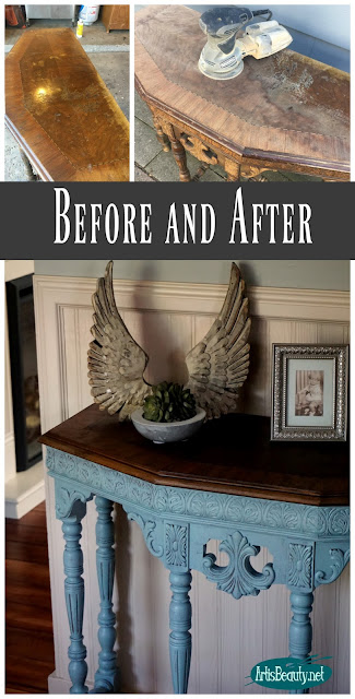Before and After Persian blue general finishes milk paint and stain library table makeover regency style