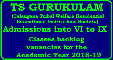 TS GURUKULAM TTWREIS Admissions into VI to IX Classes backlog vacancies for the academic Year 2018- 19 TS GURUKULAM TTWREIS (Telangana Tribal Welfare Residential Educational Institutions Society) Admissions into VI to IX Classes backlog vacancies for the academic Year 2018- 19./2018/05/ts-gurukulam-ttwreis-admissions-notification-into-6th-7th08th-9th-classes-backlog-vacancies-apply-online-tstwgk.cgg.gov.in.html