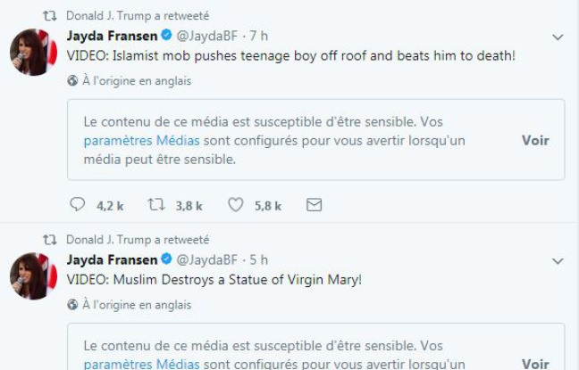 Capture d'écran des retweets de Donald Trump