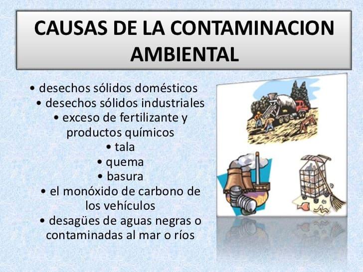 causas de la contaminacion para niños