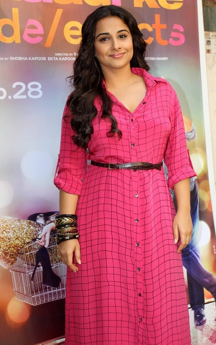 Film Actress Vidya Balan Long hair In Pink Dress
