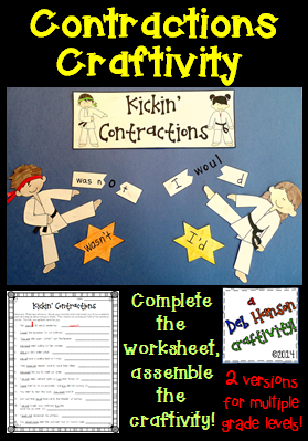 Kickin Contractions Craftivity- includes two versions for multiple grade levels!