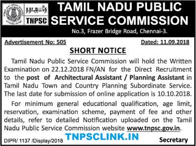 TNPSC Recruitment 11.9.2018: Architectural Asst/Planning Asst Posts Vacancy Notification Published