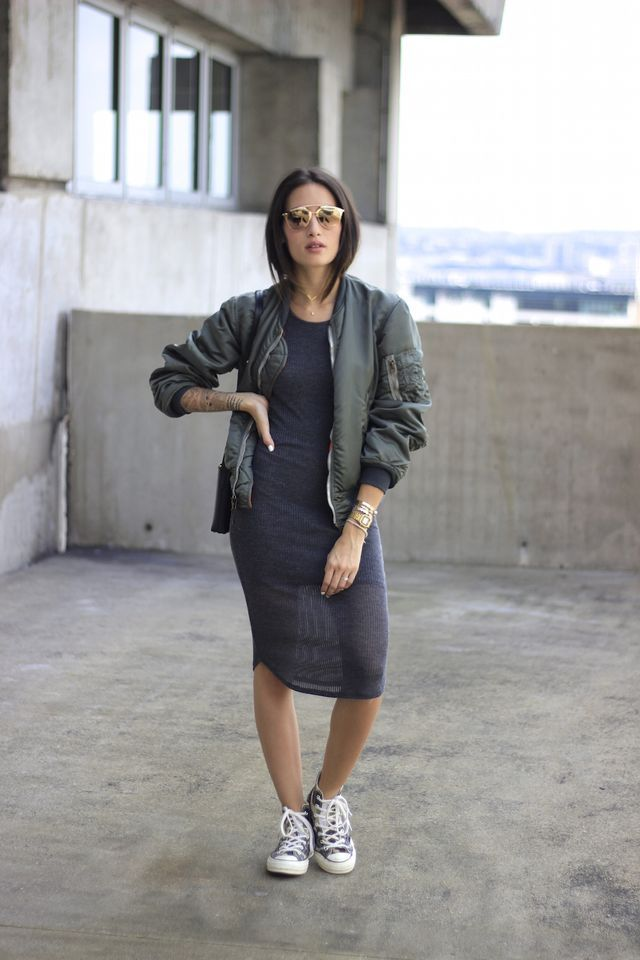 Alex's Closet - Khaki Green Bomber Jacket, Grey Midi Knit Dress