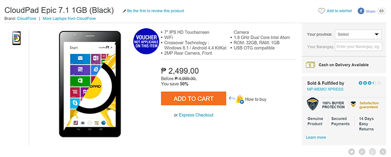 CloudPad Epic 7.1 Dual Boot Goes On Sale At Lazada For 2499 Pesos!