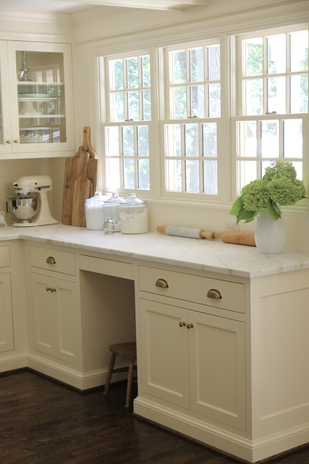 Our Classic White Kitchen Design Marble Countertops Wood Island Top Brass Pulls Lanterns Jenny Steffens Hobick