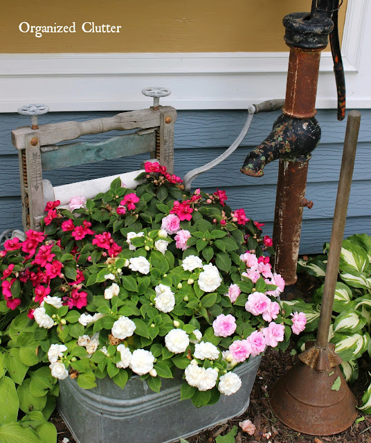 Double Impatiens In A Laundry Tub www.organizedclutter.net