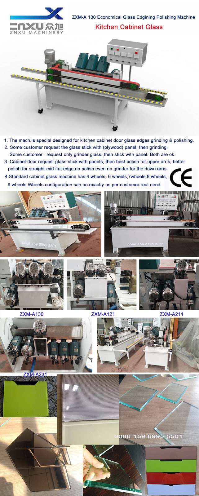 Zxm A Series Economical Glass Edging Polishing Machine For Cabinet