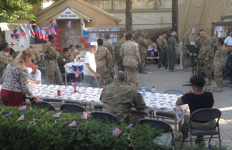 Troops in Afghanistan celebrating with 4th of July Decorations