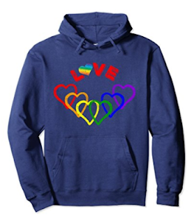 Gay Pride Love Hoodie with Rainbow Hearts