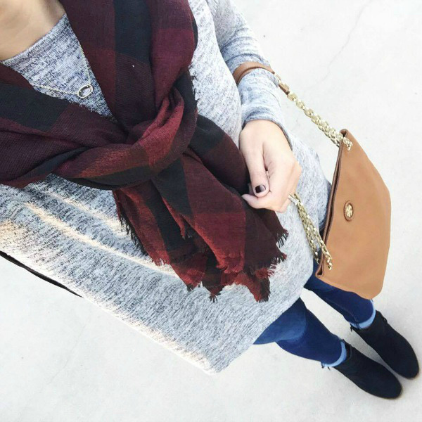 buffalo plaid scarf, black ankle boots