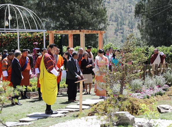Princess Mako, King Jigme Khesar Namgyel Wangchuck and Queen Jetsun Pema visit Royal Bhutan Flower Exhibition at the Chorten in Thimphu