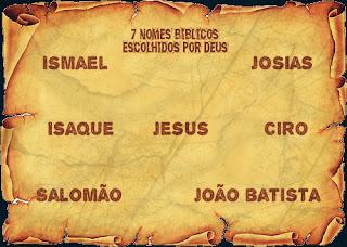 sete nomes bíblicos escolhidos por Deus