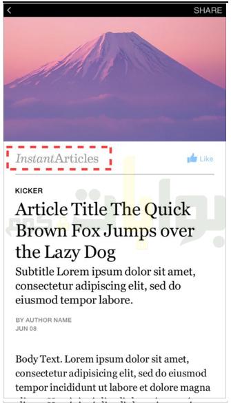 في المثال السابق، ستلاحظ عدم وجود شعار في شريط الهوية (أعلى عنوان المقال). يجب على الناشرين تضمين شعار في شريط الهوية، كما يتضح في المثال التالي.