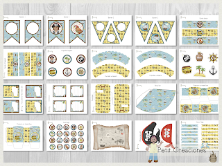 Printable Birthday PARTY KIT Pirate, Party pack, DIY, Instant download, Birthday Decorations, Gift box, Party idea.