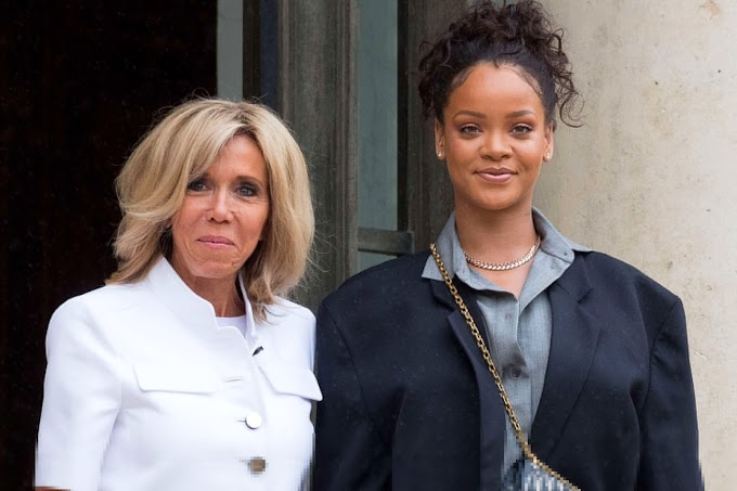 Rihanna shares laughs with French first couple in behind-the-scenes photos of education meeting