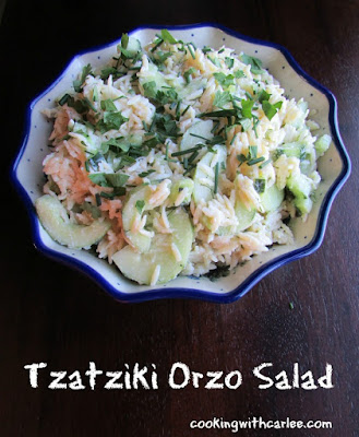 Tzatziki Orzo Salad, shared by Cooking with Carlee at The Chicken Chick's Clever Chicks Blog Hop