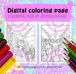 Dragon and Anime friend coloring page by JennyLuanArt