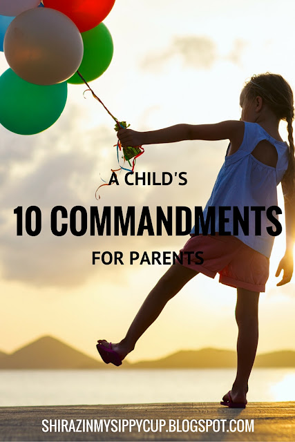 Every day as parents, we're dishing out a list of rules and commandments to our kids; do this, don't do that. Use your manners. Clean up behind you. Don't put your fingers there. Play nicely with one another. Make sure to share your toys. Don't ride the dog like a pony.   Often times I've wondered what our little kids are thinking in return but don't have the ability to verbalize. If we have our daily list of commandments, thoughts and rules, surely they have theirs. If I were to place myself in the shoes of a child, here are the 10 commandments I think they would want us to know about childhood
