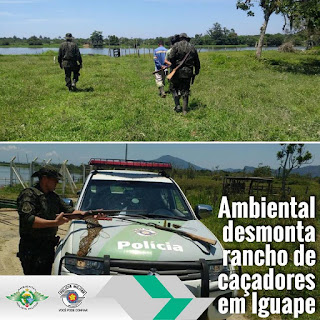 Policiamento Ambiental  desmonta rancho de caçadores em Iguape