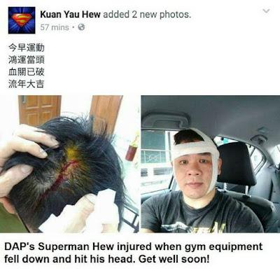 SUPERMAN DAP DI TIMPA PERALATAN GIMNASIUM