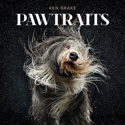 Pawtraits by Ken Drake photography book cover with Sonic the bearded Collie