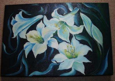 tela pintada com flores