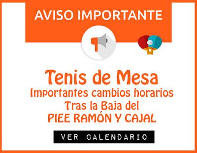 TENIS DE MESA: Cambios importantes horarios Calendario