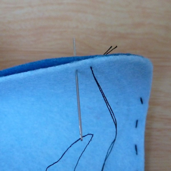 Backstitch tutorial how to work this stitch by hand on blue felt fabric
