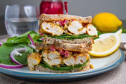 Moroccan Grilled Chicken Sandwich with Preserved Lemon Tapenade and Harissa Mayo