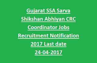Gujarat SSA Sarva Shikshan Abhiyan CRC Coordinator Jobs Recruitment Notification 2017 Last date 24-04-2017