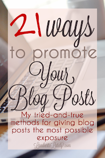 These are awesome ways to promote your blog posts!  She includes tips on how you can use social media too.  Must read for bloggers!