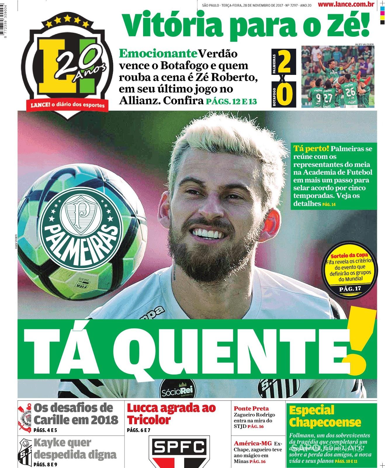 2182d25dffd5f LANCE! Espresso ⚽  Ano-Novo  no Palmeiras  adeus a Zé e portas abertas para  Lucas Lima