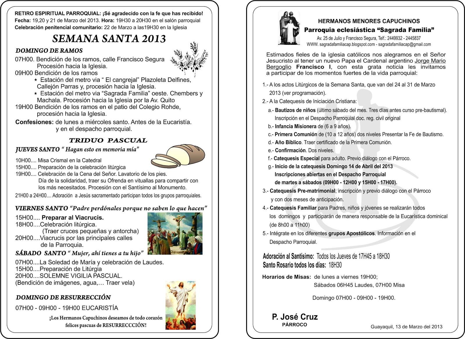 Parroquia Sagrada Familia Marzo
