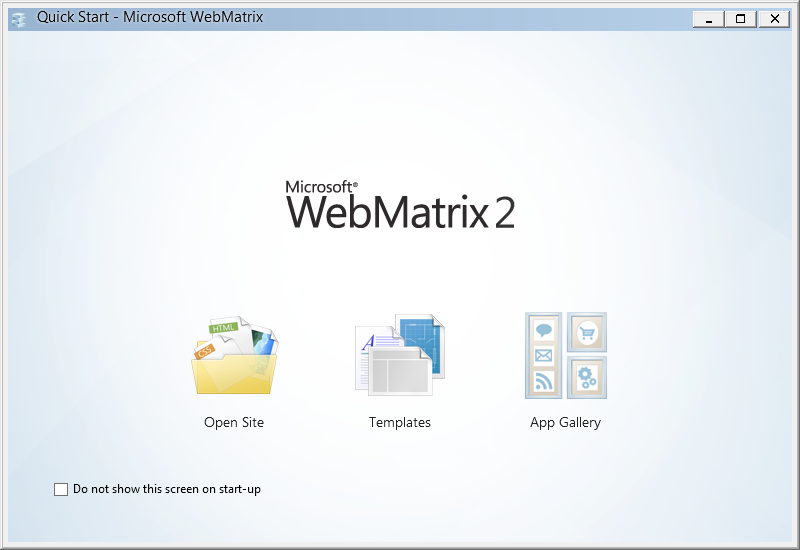 Microsoft webmatrix 2 with orchard cms dashboard links and buttons.