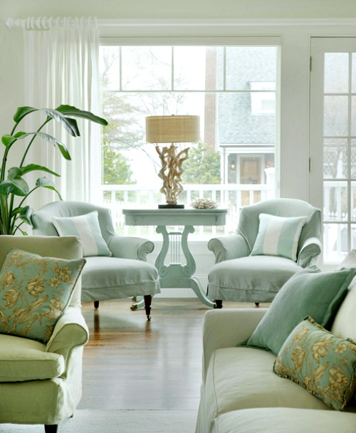 Elegant Pastel Blue and Green Coastal Living Room