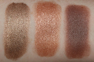 Maybelline Color Tattoo Eyeshadow in Bad to the Bronze, Colourpop Supershock Shadow in La La and Colourpop Supershock Shadow in Mitten swatch swatches review