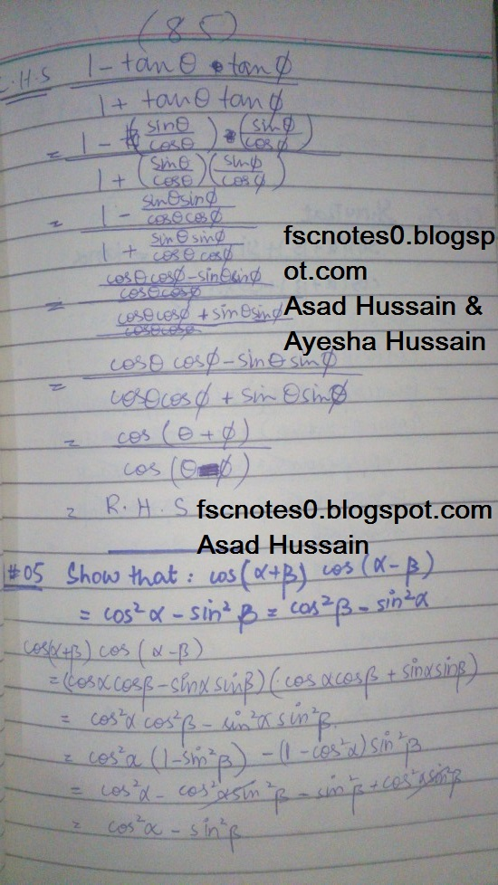FSc ICS FA Notes Math Part 1 Chapter 10 Trigonometric Identities Exercise 10.2 Question 5 - 8 Written by Asad Hussain & Ayesha Hussain